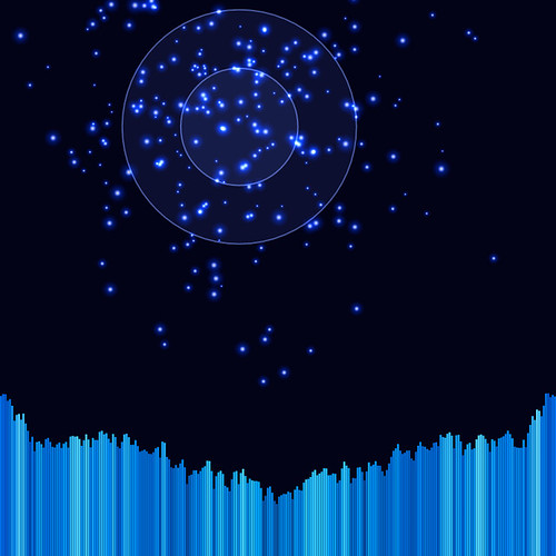 JS_Music Player_SS_(2017_06_28)_2_Cropped_1 HTML5 ミュージック プレイヤーのスクリーンショット画像。 黒い背景の上に青色の二重の光る円環があり、円環の中心から青色の多数の輝く粒子が放出されている。 画面の下方には音楽のスペクトラム アナライザーのヴィジュアライザーが描画されており、垂直の青色のバーが多数横方向に並んで伸び縮みしている。 青色のバーは明るさと彩度と色相に微妙なグラデーションが掛かっている。