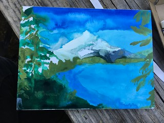 "Lost Lake plein air study 6 x 9"" on watercolor paper"