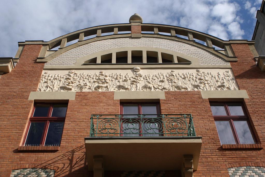Architecture art nouveau dans la Vieille Ville de Cracovie.
