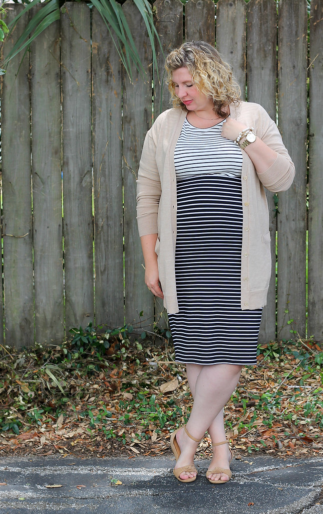 black and white stripe pencil skirt, white and black stripe shirt and tan cardigan 6