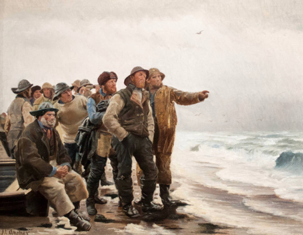 Will He Round the Point by Michael Ancher, 1885