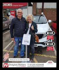 Mr Read and his partner collecting their Sportage from Jack. Mr Read was a previous customer of our Sales Manager and General Sales Manager from years gone by, but this is their first car from us here at Drayton. Welocome to our family!