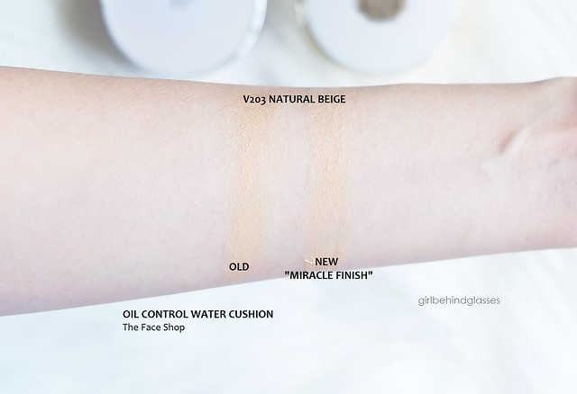 The Face Shop Miracle Finish Oil Control Water Cushion old vs new swatches