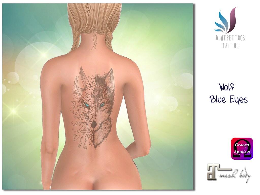 Wolf Blue Eyes Tattoo - SecondLifeHub.com