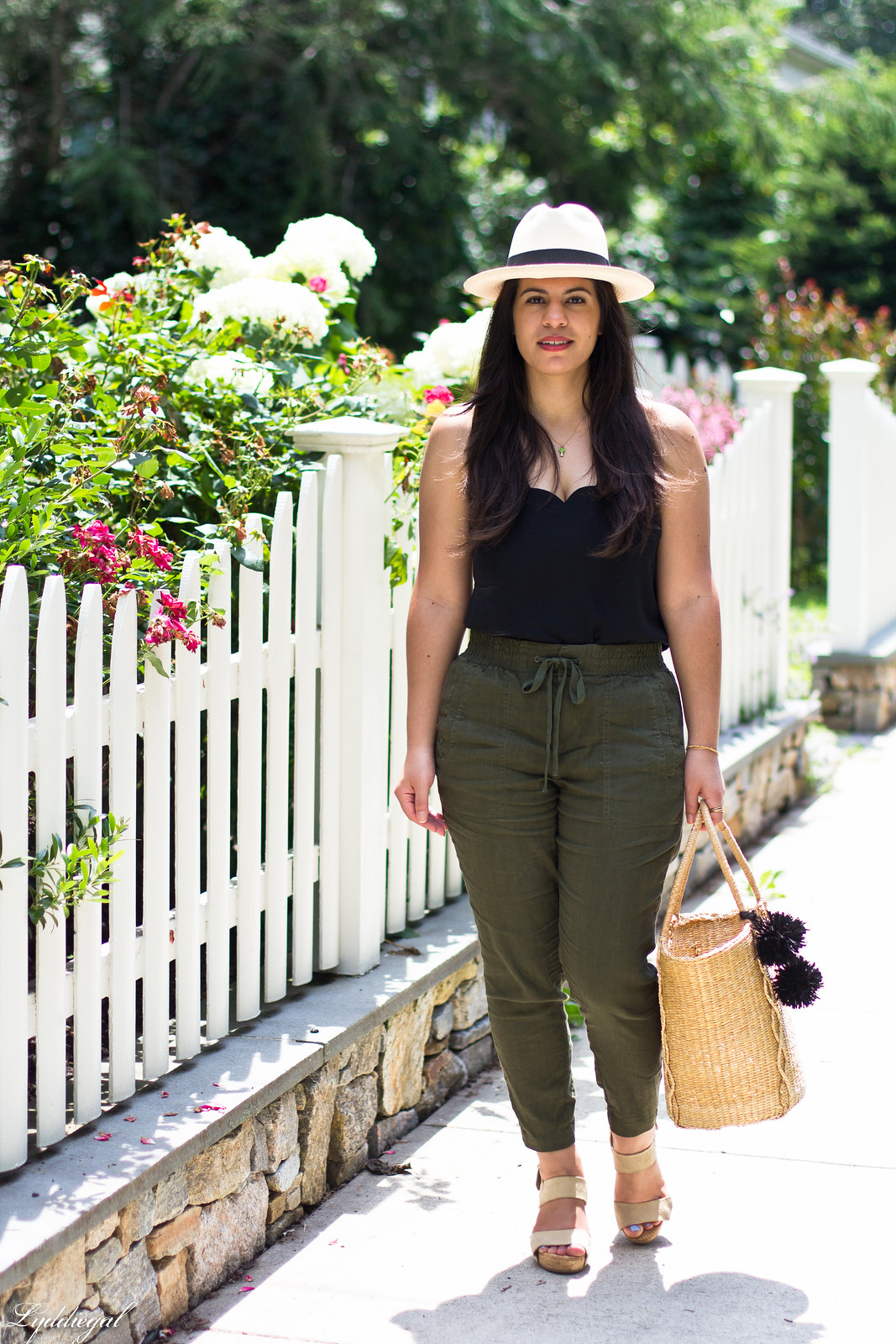 green linen pants, scalloped cami, panama hat, straw tote.jpg