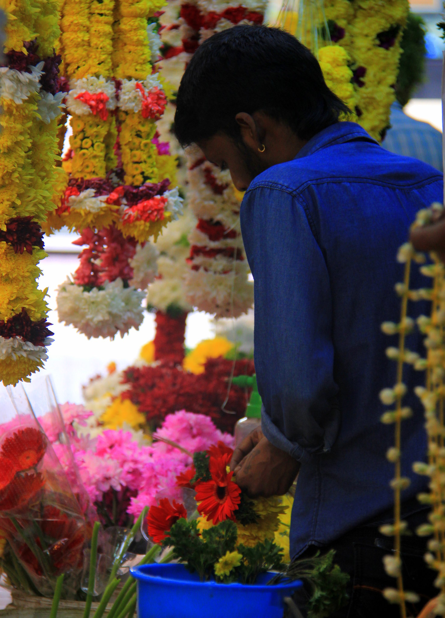 Flower sellers at Little India in KL