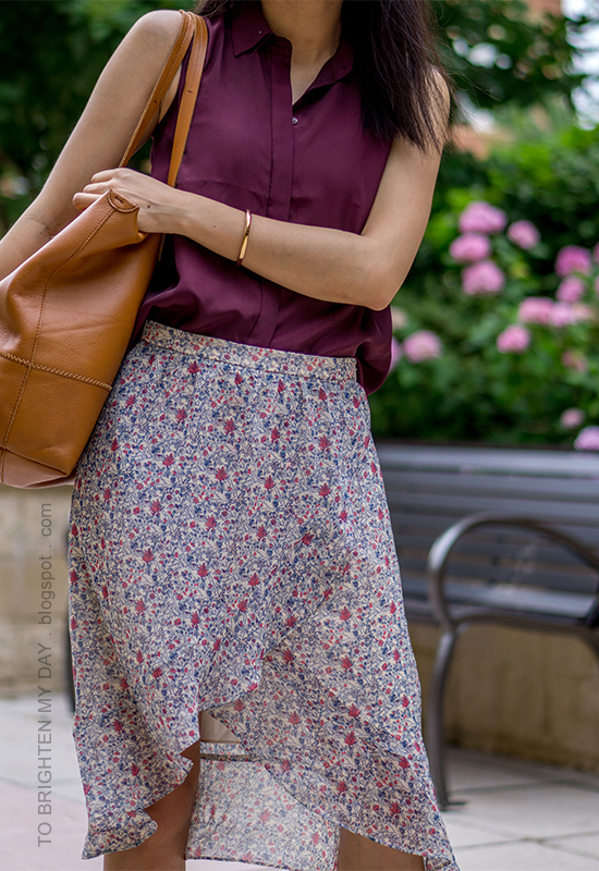 burgundy sleeveless top, floral wrap midi skirt, cognac brown tote