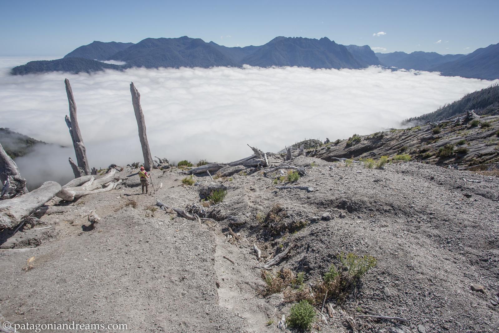 Descending the rim of Volcan Chaitén, Prov. de Palena, X Región de Los Lagos, Patagonia, Chile.