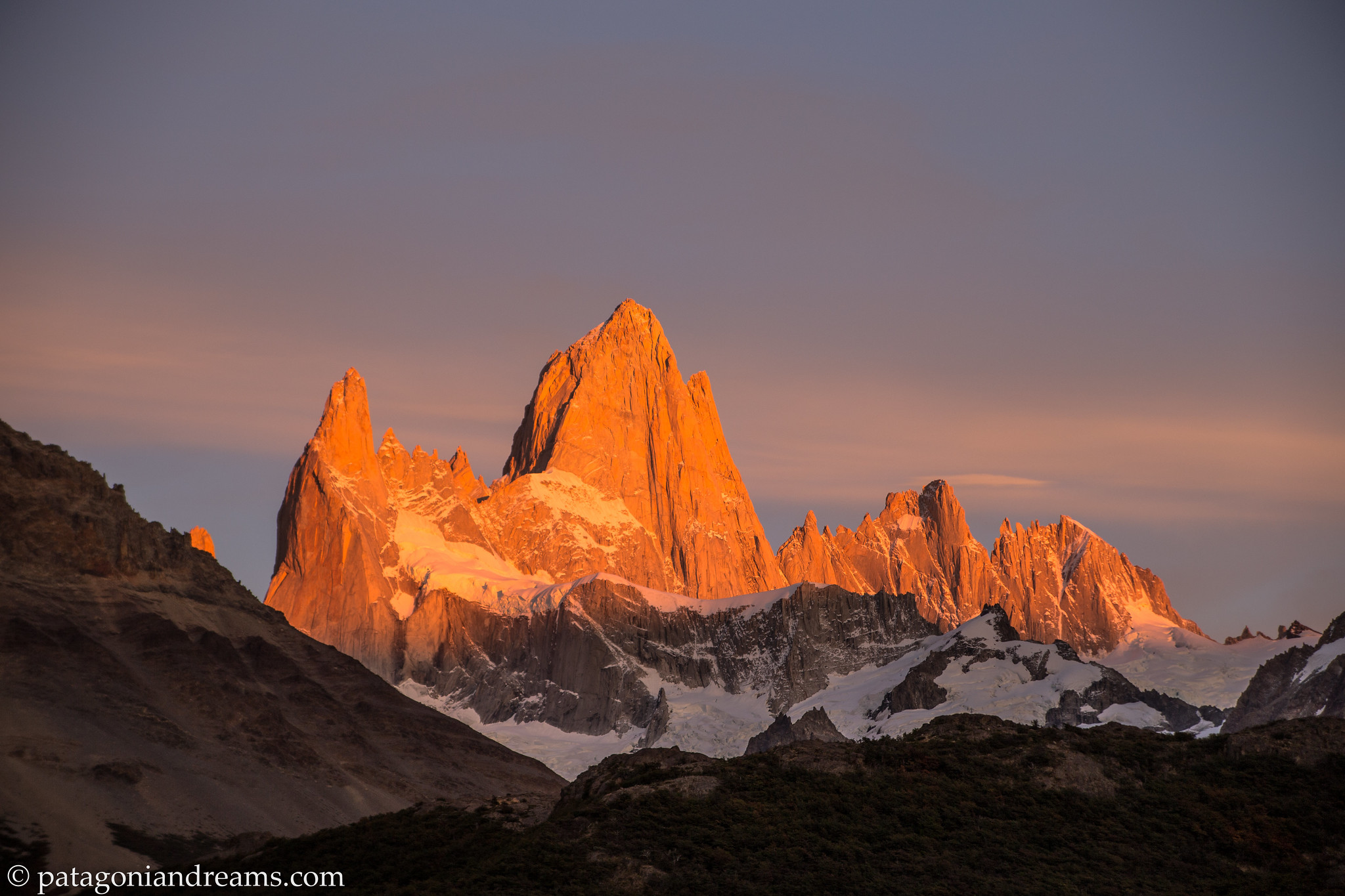 Morning alpenglow on Cerro Fitz Roy never dissapoints, as seen from Laguna Capri, day 4, NP Los Glaciares, Patagonia, Argentina.