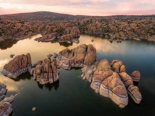 watsonlake michaelwilson prescott arizona southwest lake water sunrise sunset granite geology rock aerial djiphantom drone