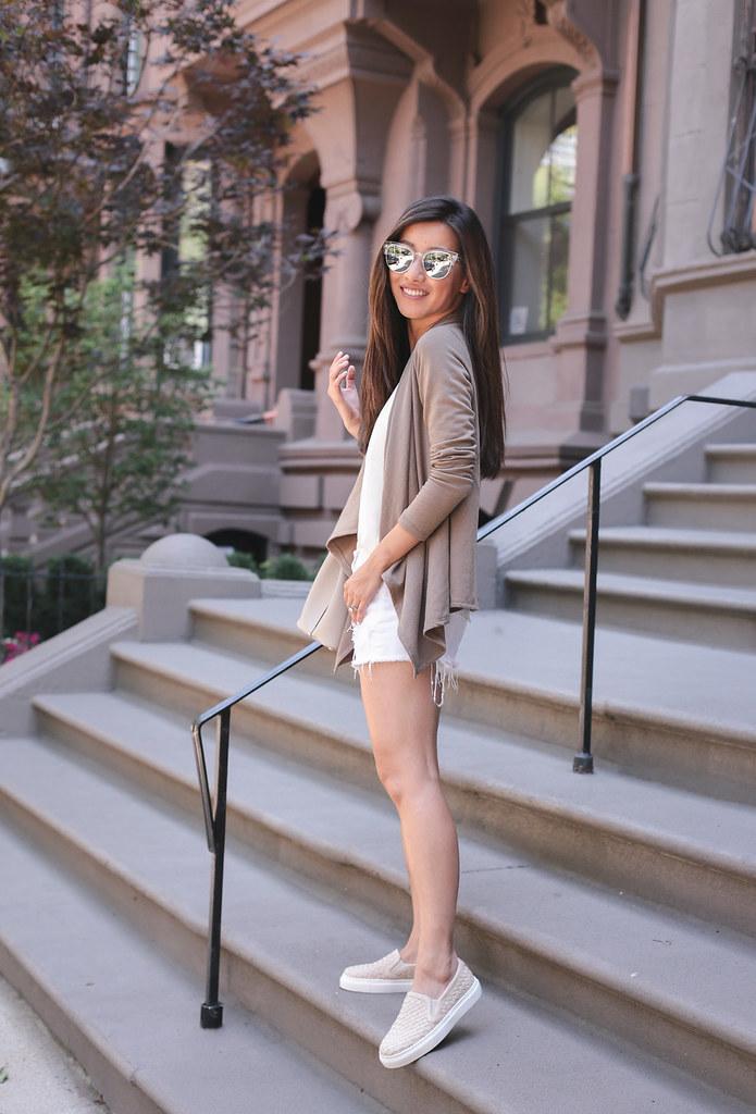 sneaker white shorts drape bobeau cardigan casual outfit inspiration