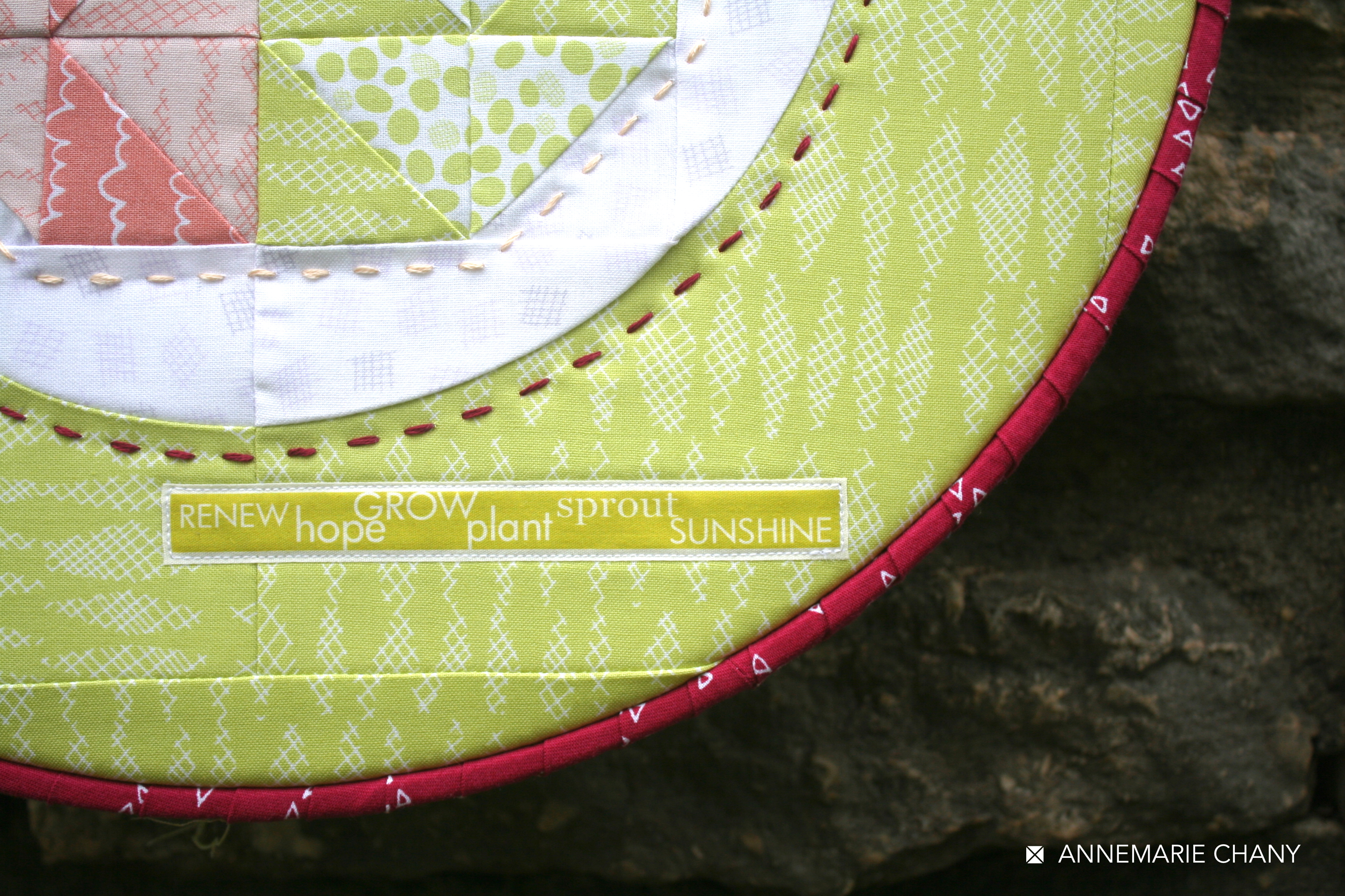 Improv Hoop Quilt label detail by AnneMarie Chany