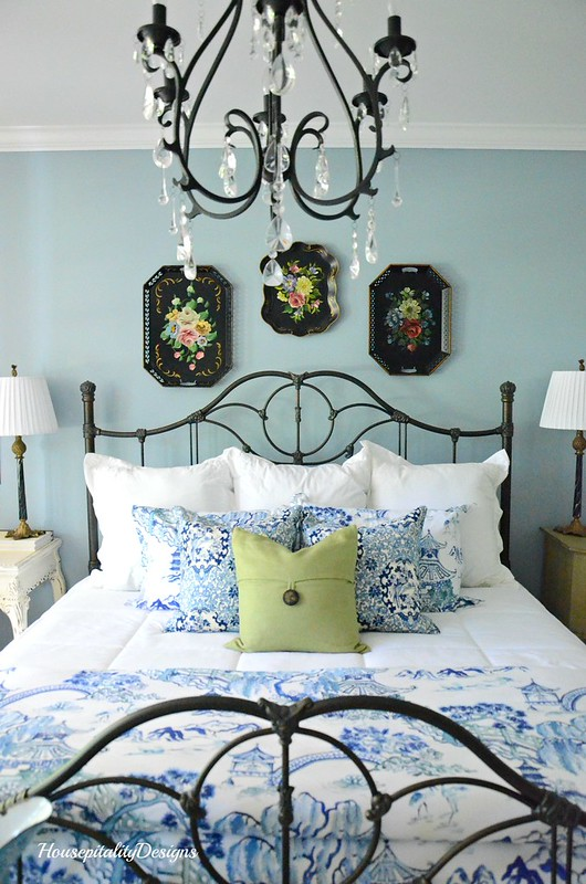 Guest Room Bed-Blue and White-Iron Bed-Housepitality Designs