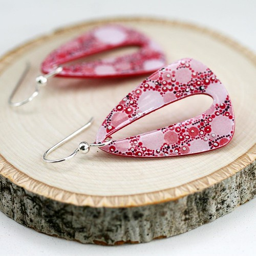 Red and Pink Paper Earrings by SC Studio