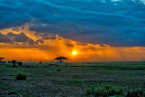 sunset amboseli kenya