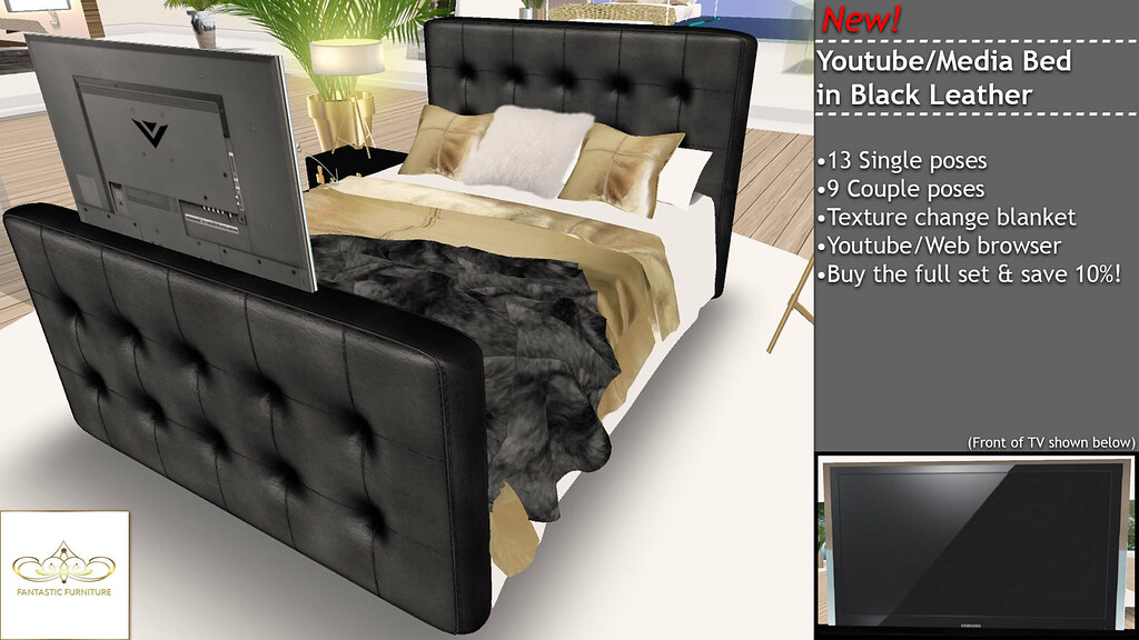 Youtube/Media Bed - Black Leather - SecondLifeHub.com