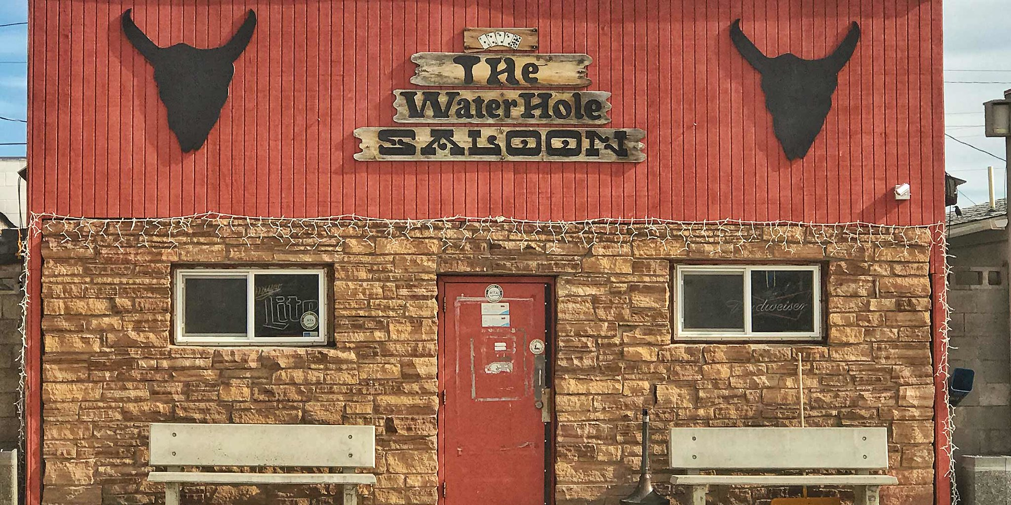 The Waterhole Saloon is located in Stanford, Montana on Highway 87 in Judith Basin County.
