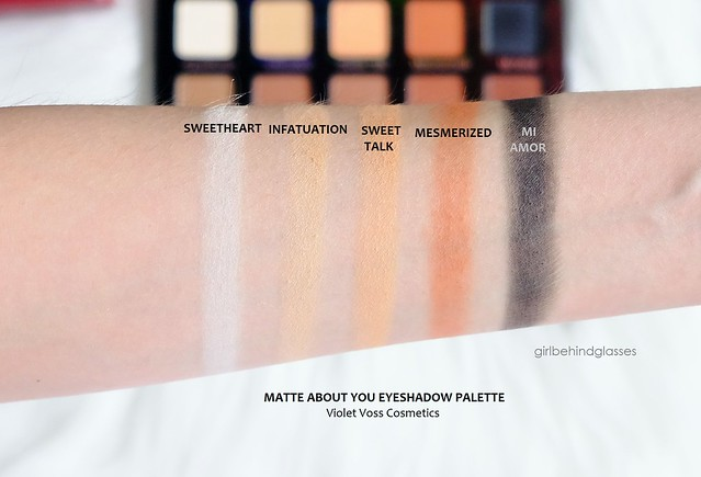 Violet Voss Matte About You Eyeshadow Palette Row 1 swatches