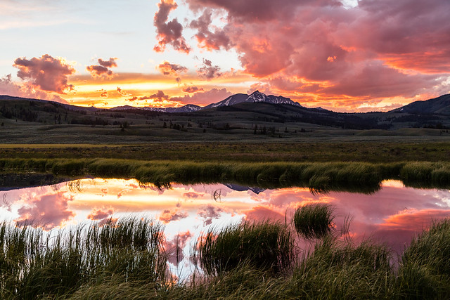 Summer solstice 2017 sunset over Electric Peak