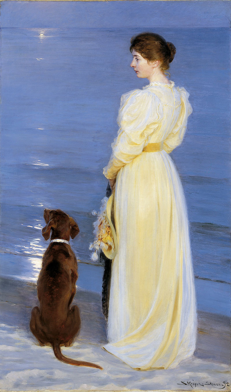 Summer Evening at Skagen. The Artist's Wife and Dog by the Shore by P.S. Krøyer, 1892