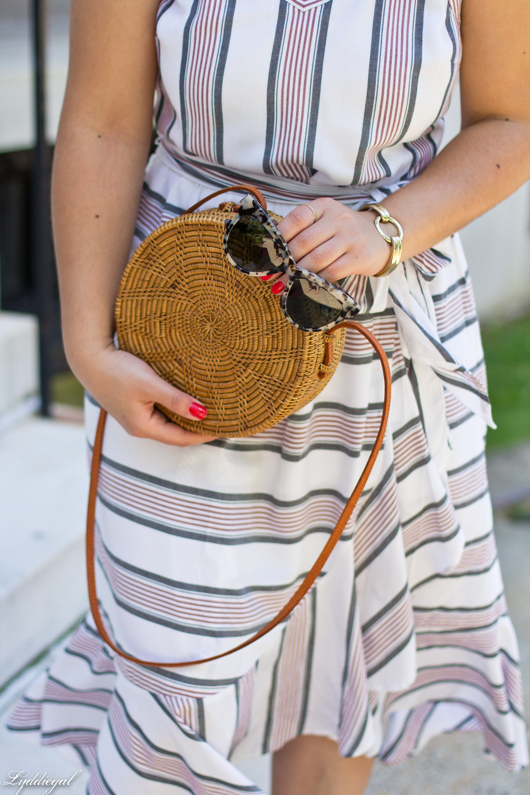 striped ruffle dress, round straw bag, white mules-6.jpg