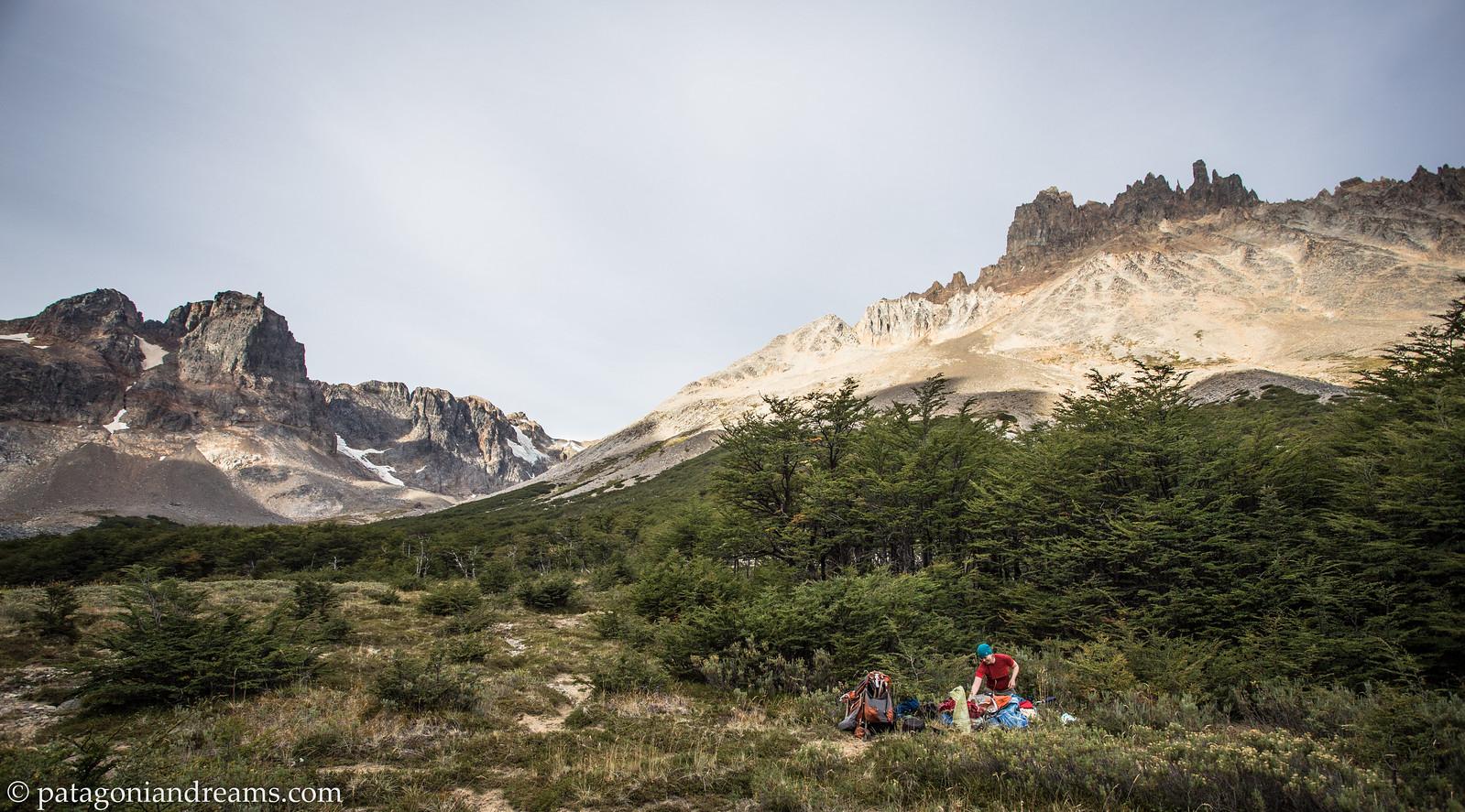 Setting up camp at campamento Neozelandés in Cerro Castillo National Reserve, Aysén Region, Patagonia, Chile.