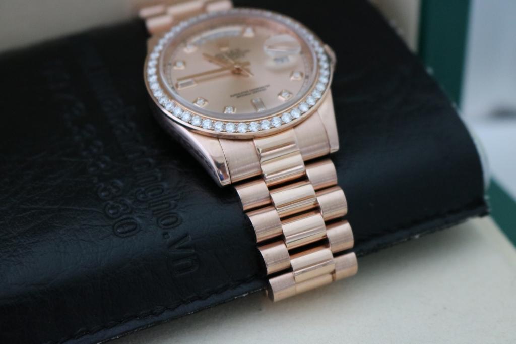 Đồng hồ rolex day date 6 số 118235 – Vàng hồng 18k – mặt hạt xoàn – size 36mm