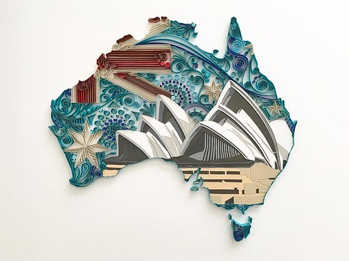 Quilled and Papercut Australia Map by Akiko Makihara