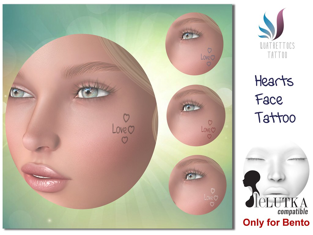 Love Face Tattoo  for Lelutka Bento Heads**Promotional launch price** 29L$ - SecondLifeHub.com