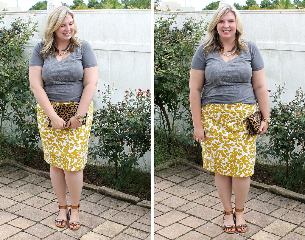 mom style remix graphic tee two_mustard floral pencil skirt