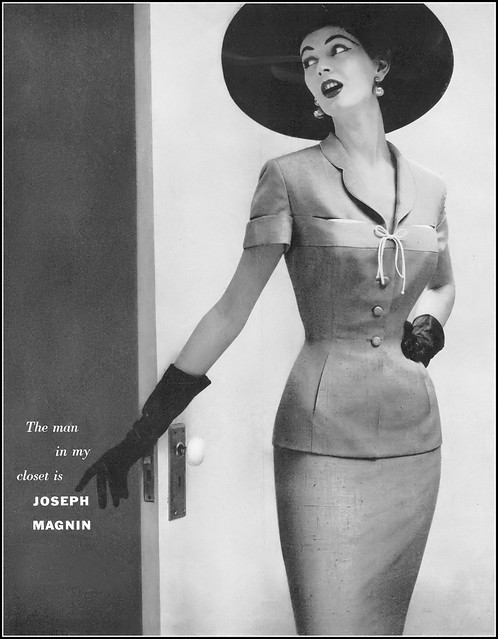 Dovima in gold silk shantung suit from the Gene Shelly collection exclusively for Joseph Magnin, Vogue, December 1, 1954