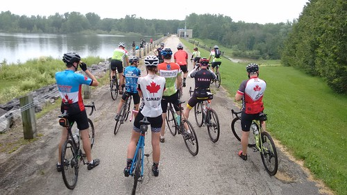 Clouds, sun, rain, wind, bakery, gravel, pavement, grass, trail, closed, ... - working together to roll 150km for Canada 150. Good times!