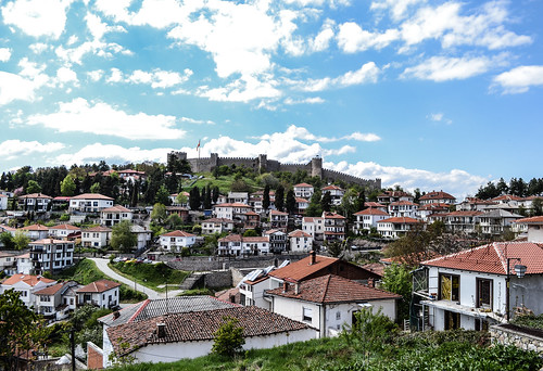 ohrid macedonia fyrom охрид македонија architecture buildings ancient old heritage city downtown innercity history blue sky white clouds sunlight light sunshine view panorama house houses fortress castle fort balkan europe world travel travelling traveler