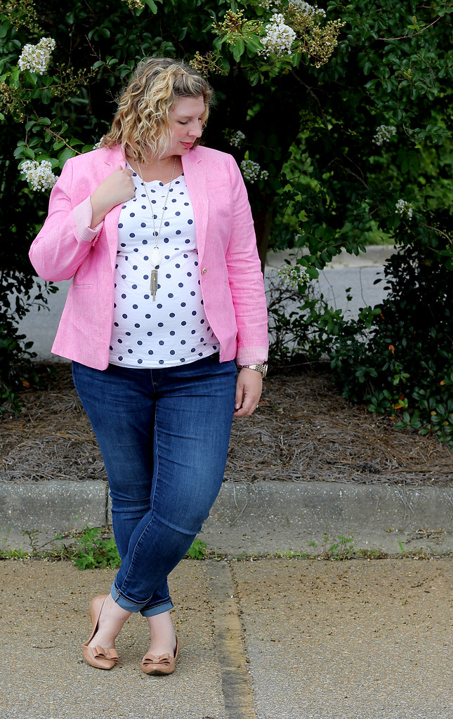 pink blazer, polka dot tee and maternity jeans 5