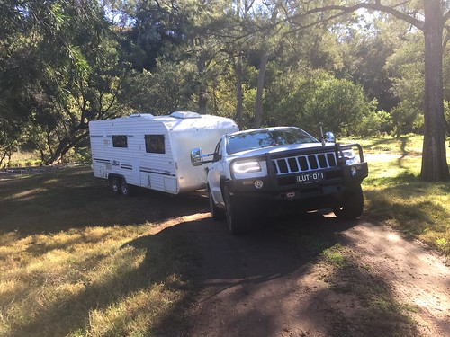 Jeep Grand Cherokee and the Starship Enterprise coming out of a Campsite at Bretti Reserve, 34 km North of Gloucester, NSW. A nice quiet spot next to, believe it or not, the Bernard River. I'll have to pop back there sometime.
