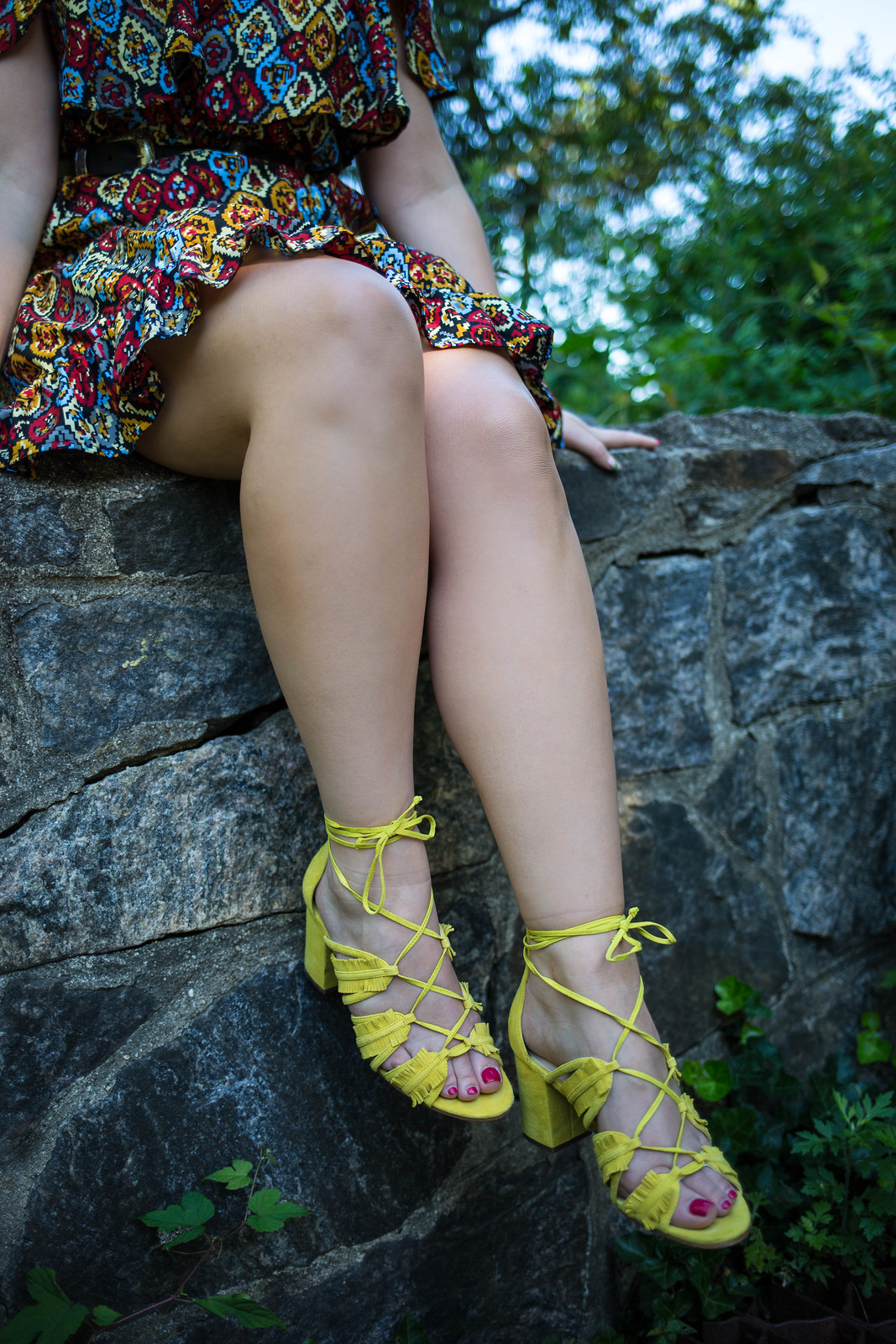 Why Printed Dresses are Better than Solids | Nine West Yellow Genie Ghillie Sandals Hastings on Hudson New York
