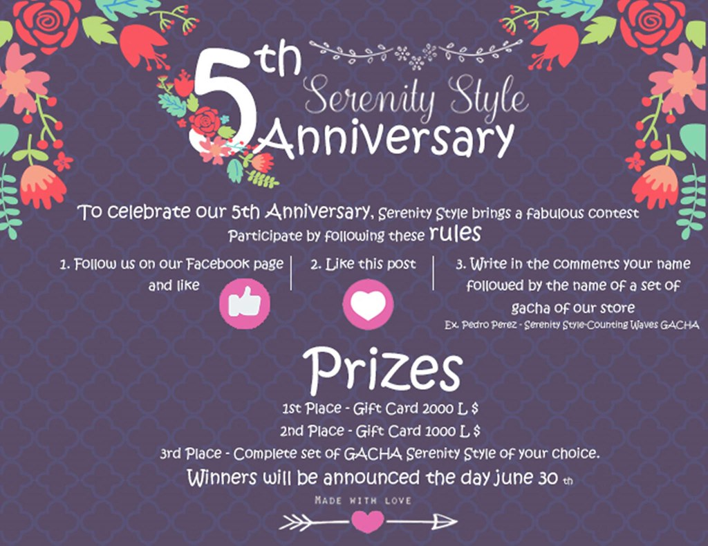 Serenity Style 5th Anniversary contest - SecondLifeHub.com