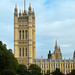 LONDON, ENGLAND - OCTOBER 2014: Houses of Parliament, Palace of Westminster,  seen from the Park.