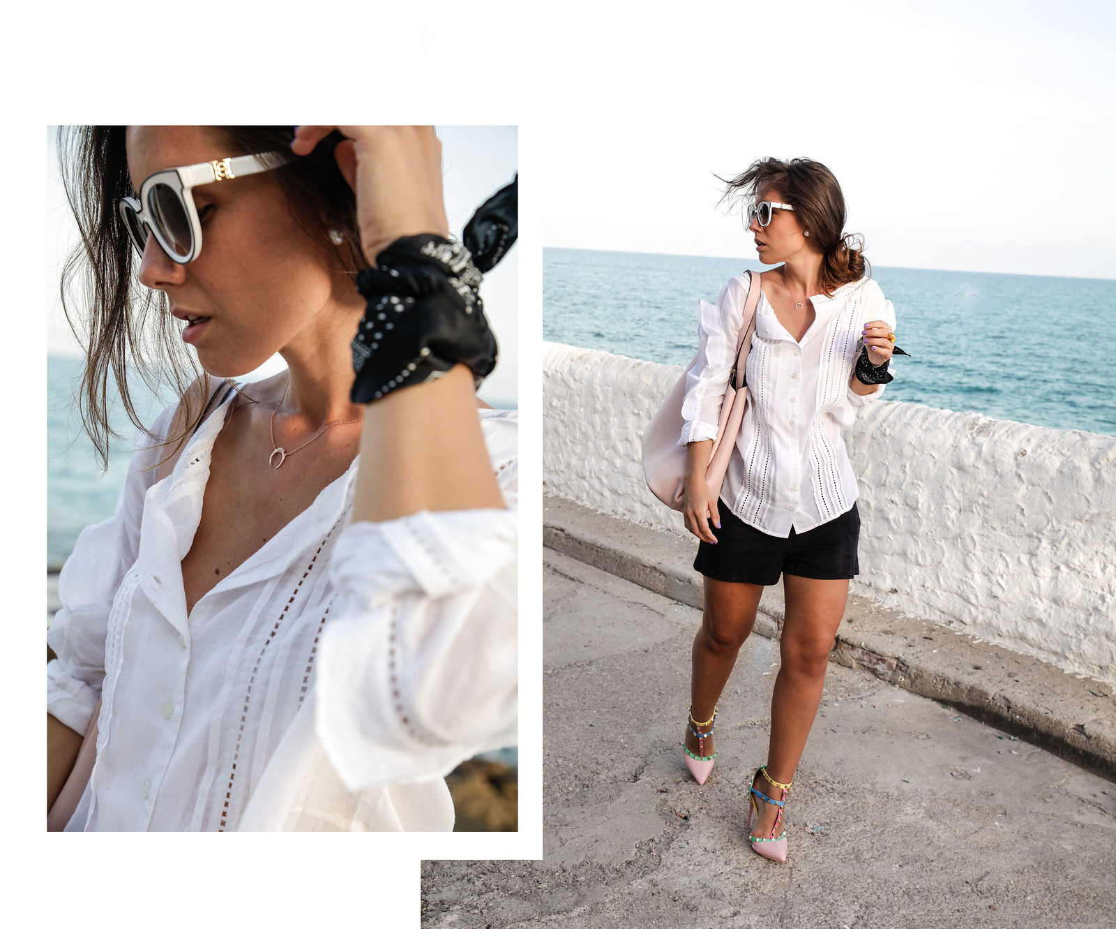 05_blusa_blanca_volantes_con_tacones_tachuelas_theguestgirl_black_white_outfit_storets_shorts