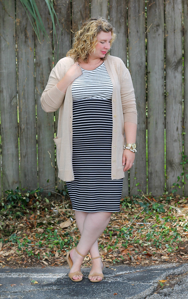 black and white stripe pencil skirt, white and black stripe shirt and tan cardigan 4