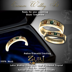 Evermore Wedding Rings Set - Sapphire-Dia-Sterling