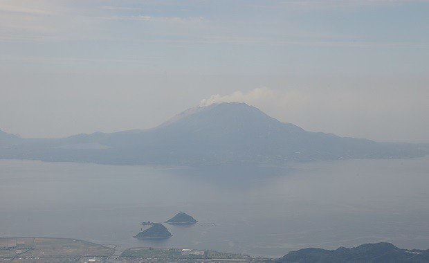 170702 機内から見る桜島