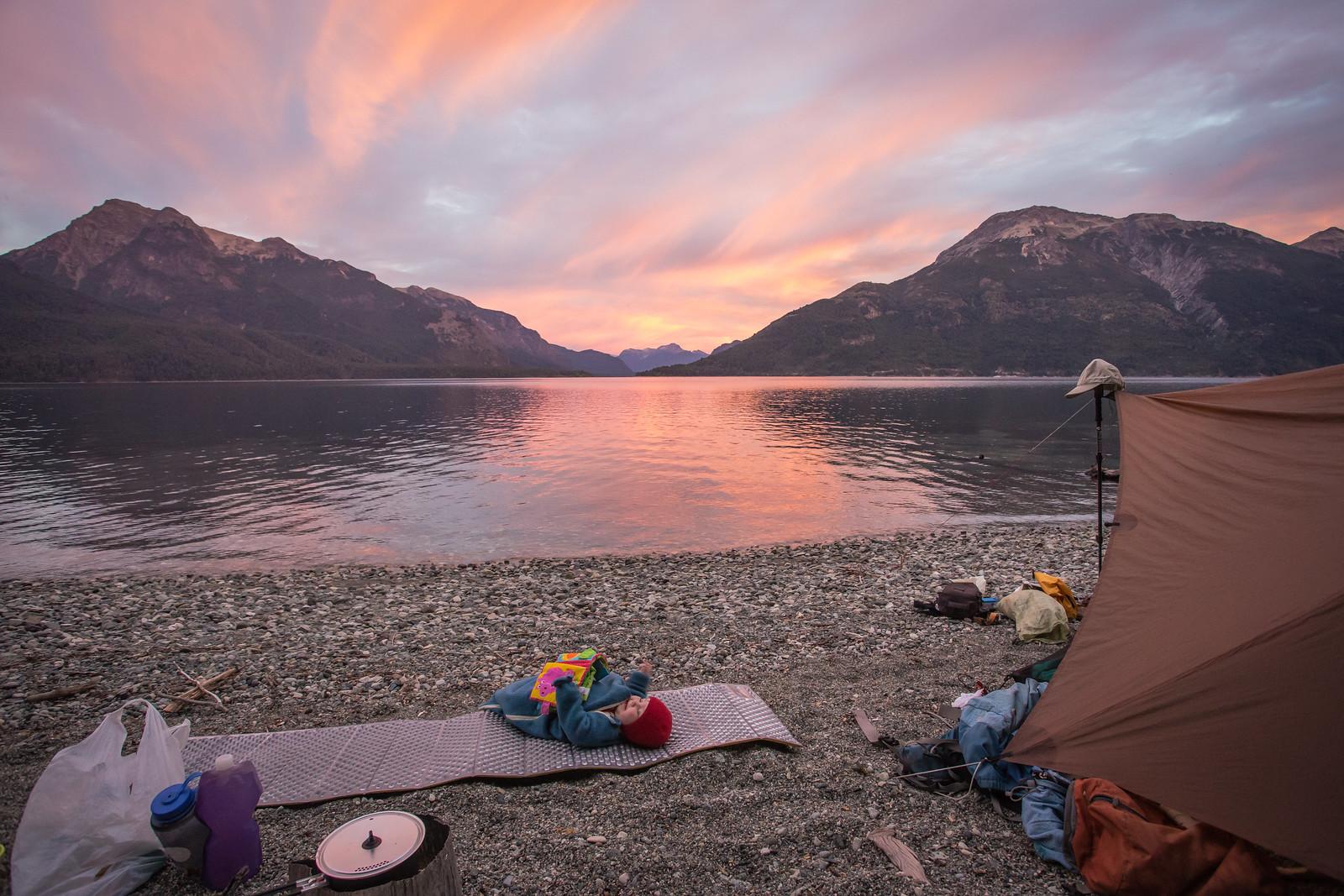 Color of Dawn. Bivaouc. Lago Futalaufquen. NP Los Alerces. Chubut. Patagonia. Argentina