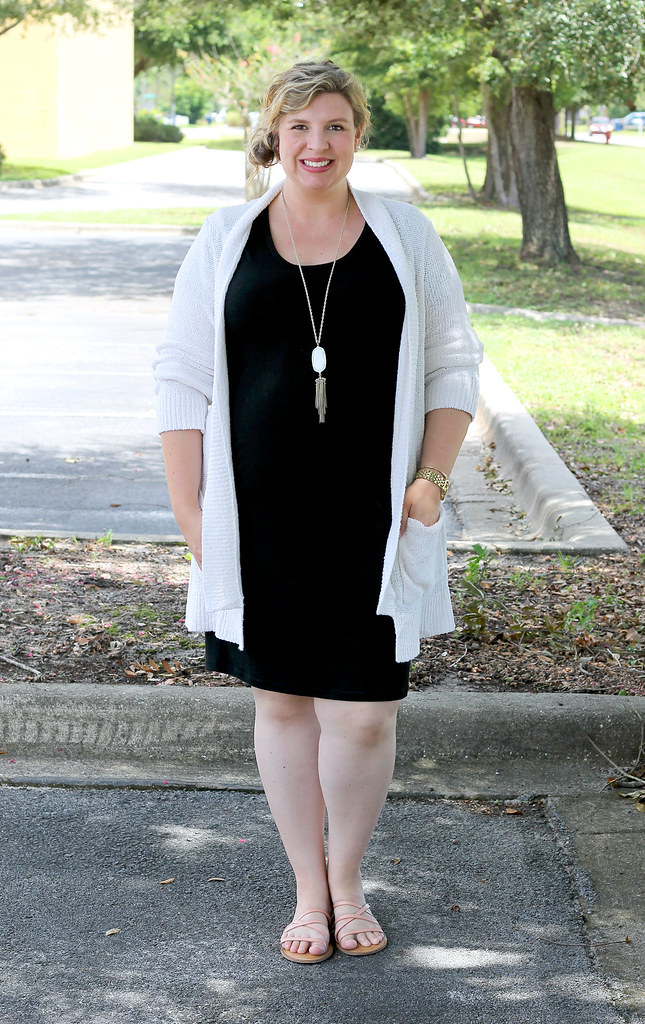 black maternity dress, cream open weave cardigan 7
