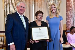 Secretary Tillerson and Advisor to the President Ivanka Trump With 2017 TIP Hero Amina Oufroukhi of Morocco