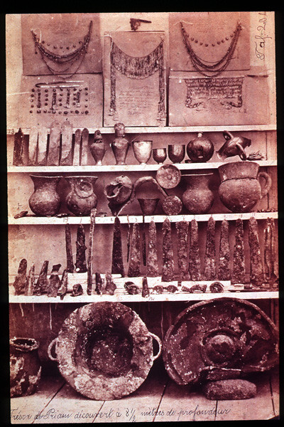 Items from the Troy II called Priam`s Treasure discovered by Heinrich Schliemann