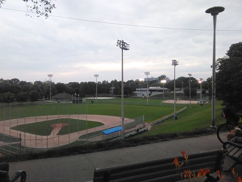 Looking south at the Dominico Field baseball diamond, Christie Pit #toronto #christiepit #parks #baseball #evening