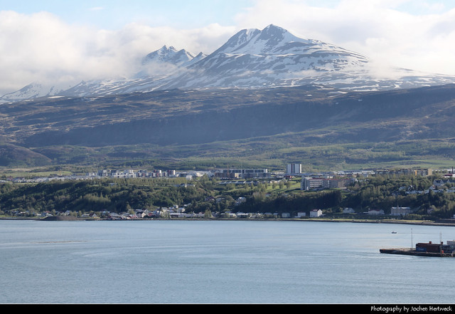 Akureyri seen from across the Eyjafjörður, Iceland