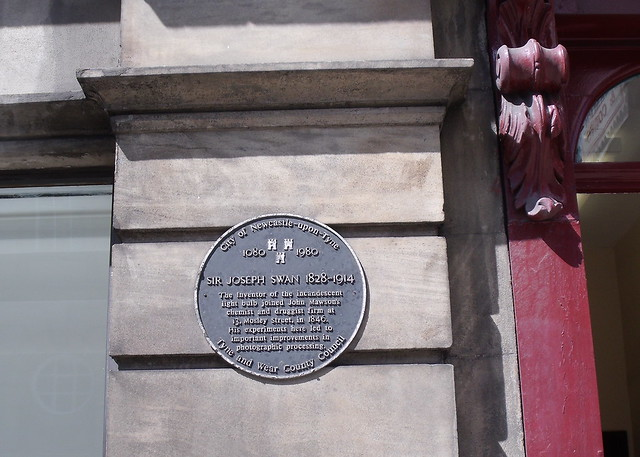Photo of Joseph Swan black plaque
