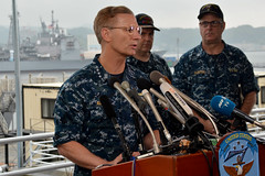Vice Adm. Joseph Aucoin speaks to reporters in Yokosuka, June 18. (U.S. Navy/MC1 Peter Burghart)